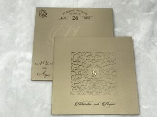 lasercut premium mettalic finished paper 3 fold wedding card with any two inserts.