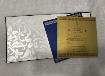 Blue satin cloth with self embossed design