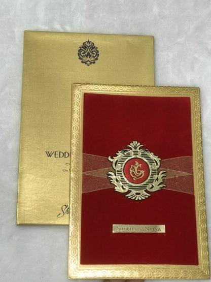Red velvet card with ribbon