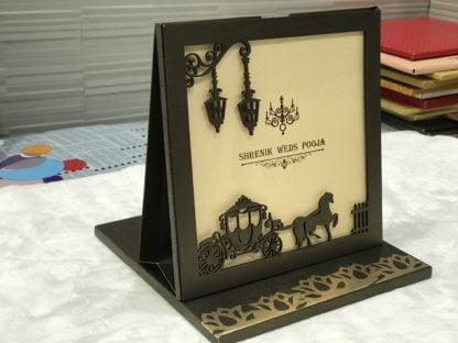 Laser cut frame wedding card