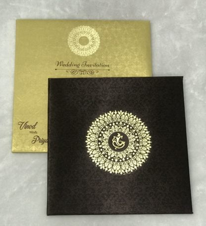 Brown satin cloth paper with gold foiled Mandala design