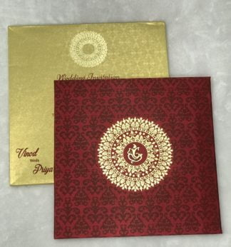 Maroon satin cloth card with mandala design