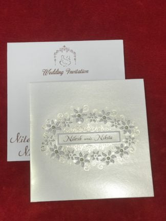 White pearl floral card
