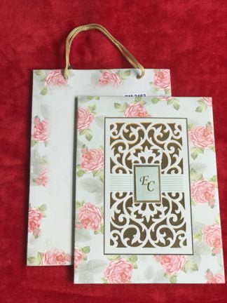FLORAL BOX TYPE WEDDING CARD WITH LASER CUTTING