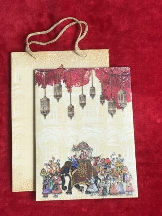 Traditional wedding card with elephant and baraat