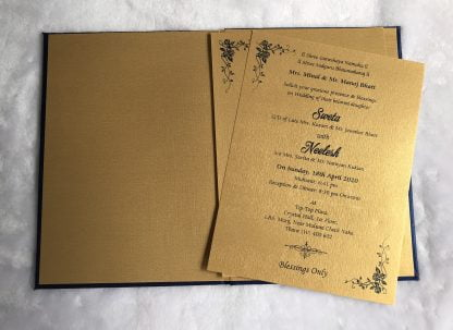Wedding card made of blue cloth satin paper and bag type cover