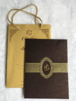 Wedding card made of brown cloth satin paper and bag type cover