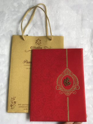 Wedding card made of red cloth satin paper and bag type cover
