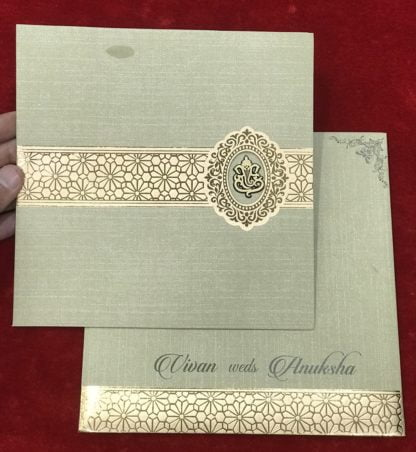 Self textured perfumed paper wedding card
