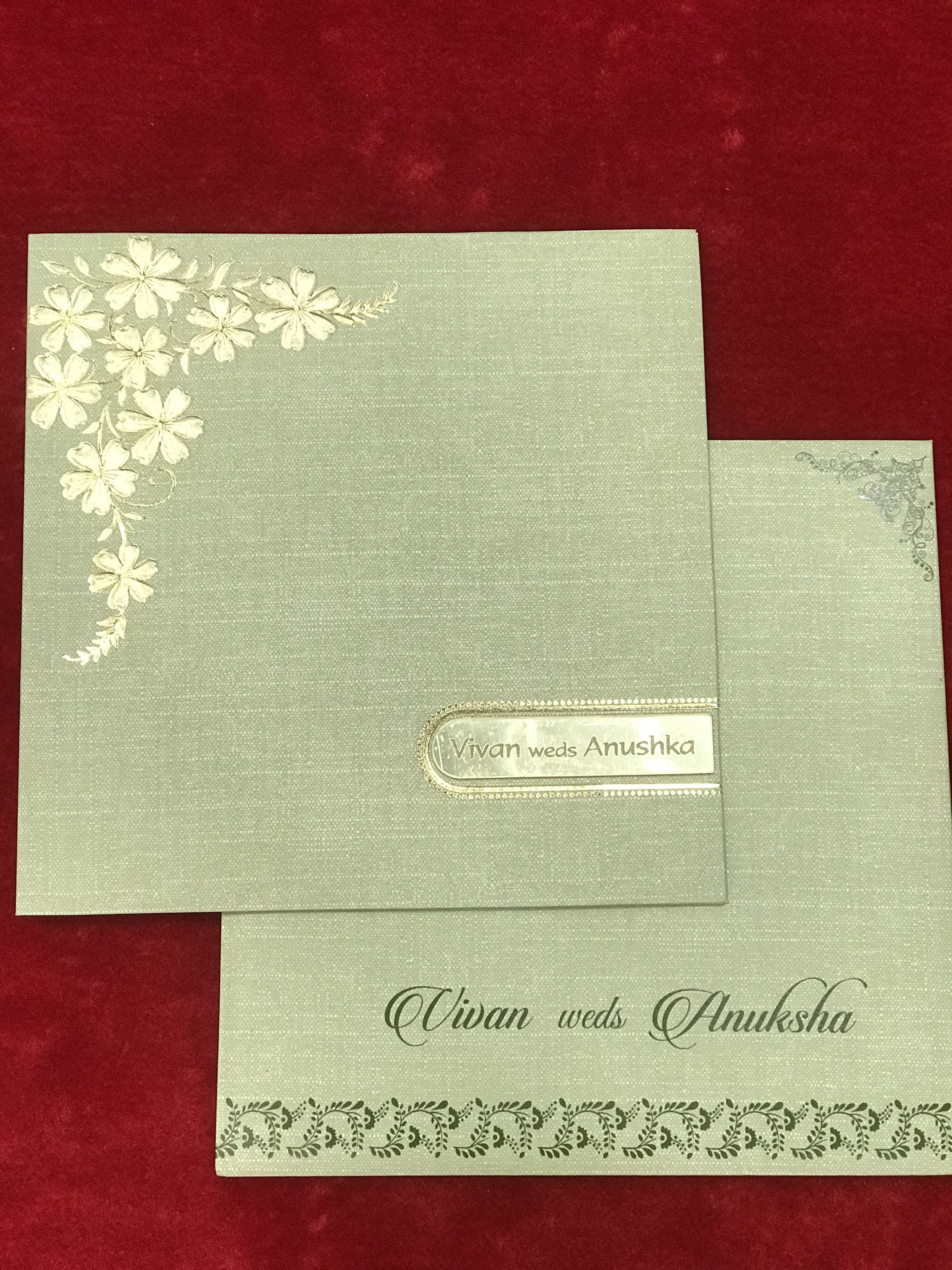 Simple Flower Design Wedding Card Swastik Cards