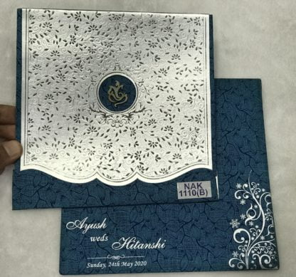 BLUE COLOR WEDDING CARD