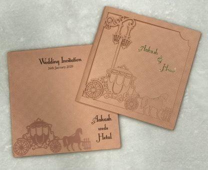 laser cut chariot wedding card